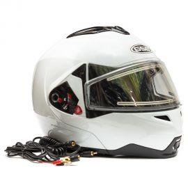 Шлем для снегохода GSB G-339 SNOW (с эл. визором) White Glossy