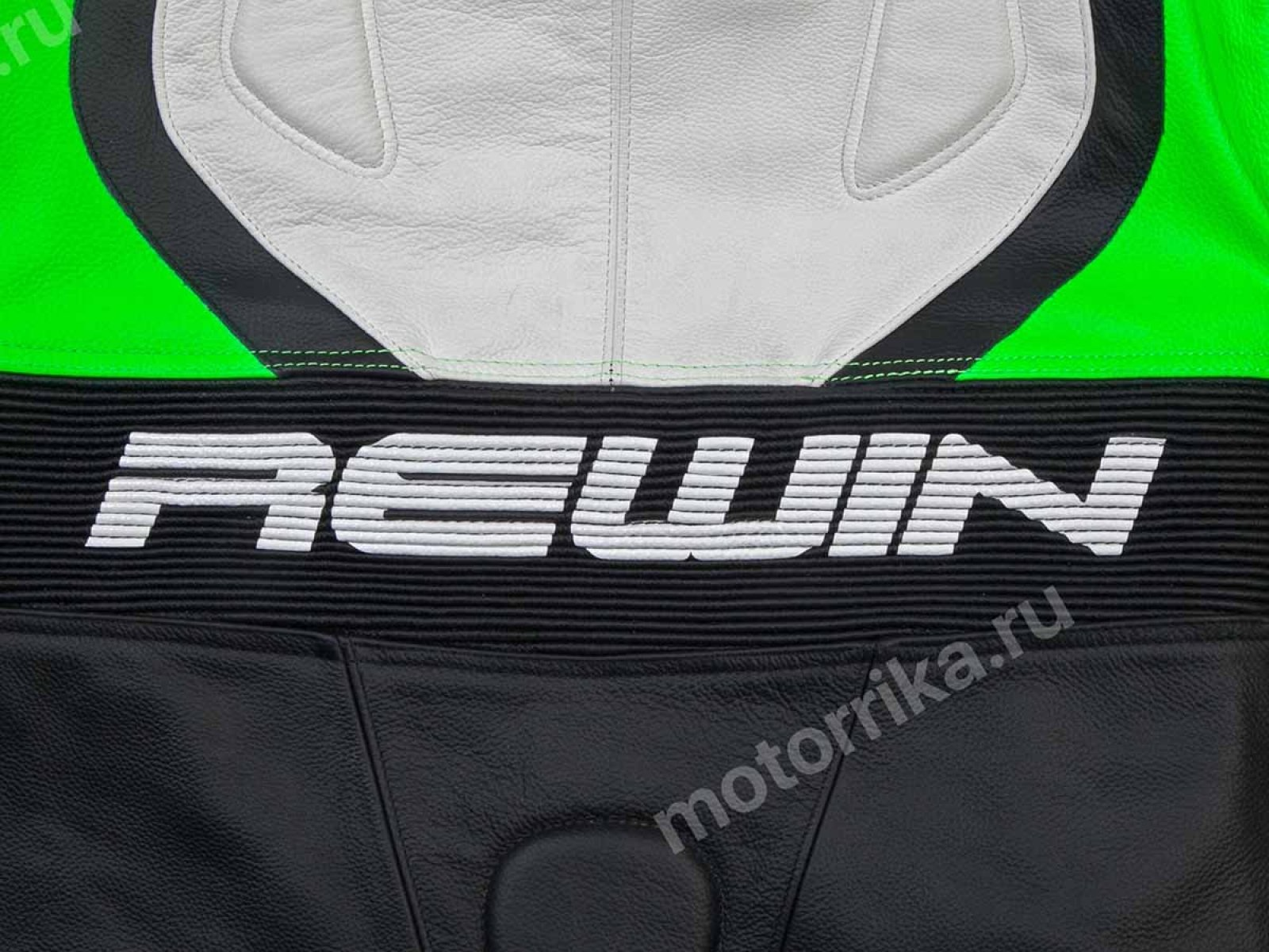 Мотокомбинезон Rewin Stream Green-white-black (кожа быка)