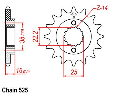 Звезда передняя для Ducati Hypermotard 796 10-12, Monster 795 12-15, Monster 796 11-15, Multistrada 950 17